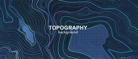 Topography contour terrain. Liquid gradients abstract background. Outline cartography landscape. Trendy poster design. Topographic map lines, contour background. Vector illustration cartography