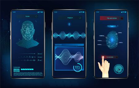 Modern identification smartphone app. Biometric scanning fingerprint, face recognition and voice recognition for authorization verification. UI futuristic identification APP. Vector illustration 写真素材 - 133294369