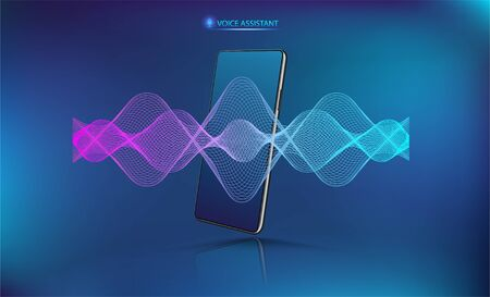 Voice assistant sound wave with smartphone mockup. Microphone voice control technology, voice and sound recognition. Hi-tech AI assistant, background wave flow, equalizer. CellPhone voice helper.
