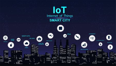 Smart city concept with icon. IoT city design technology for living. Modern city, Internet of things. Vector Illustration of innovations and Internet of things. IoT concept banner  イラスト・ベクター素材