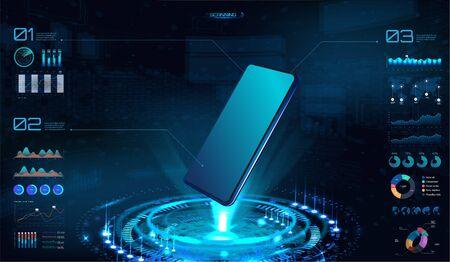 Maquette futuriste de smartphone, hologramme avec téléphone portable. Interface HUD, UI, UX, bannière de présentation KIT avec interface d'élément (données et graphiques). Analyse de produit innovante dans le style HUD. Image vectorielle Vecteurs
