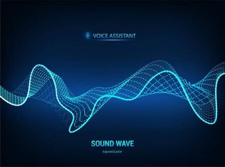 Voice assistant concept, sound wave. Vector equalizer. Microphone voice control technology, voice and sound recognition. High-tech AI assistant voice, background wave flow. Vector illustration