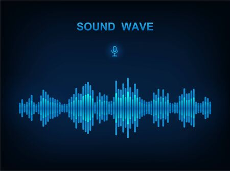 Sound Wave, electronic equalizer. Voice assistant concept. Modern style on dark background. High-tech AI assistant voice, background wave flow, equalizer. Vector sound wave illustration  イラスト・ベクター素材