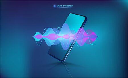 Asistente de voz en el Smartphone. Teléfono móvil isométrico con onda de sonido. Tecnología de control de voz de micrófono, reconocimiento de voz y sonido. Asistente de voz de alta tecnología AI con maqueta de teléfono móvil. Vector Ilustración de vector