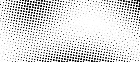 Abstract Halftone Gradient Background. Monochrome points abstract illustration with dots. Printing raster. Black and white texture of dots. Vector dotted illustration