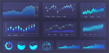 Bright modern infographic with data and charts, statistics graphs and finance analysis in futuristic style. UI, UX web elements design, modern style. Blue Business infographic template set. Vector  イラスト・ベクター素材