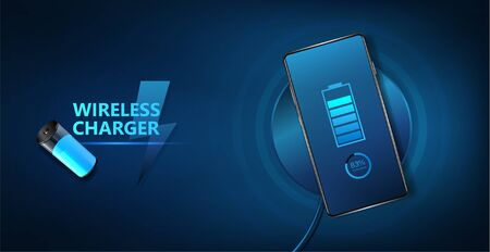 Wireless charging of the smartphone battery. Universal charging base for gadgets and devices on blue background. Future technology for convenient and quick charging. Vector illustration