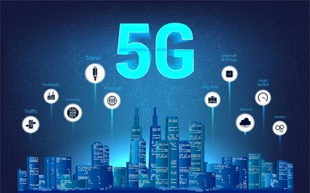 5G wireless internet Wi-fi connection. Modern city skyline and 5g Internet with aspects of benefits. Communication internet of things. 3D futuristic banner. Vector illustration, infographic banner.