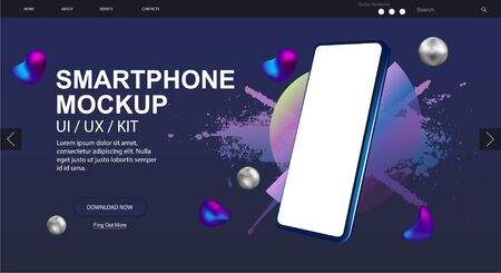 Smartphone rotated position Mockup and website design. 3D realistic phone in perspective. UI,UX,KIT design. Mobile phone gadget, device. Blank screen cell phone. Vector Mockup presentation UI design.