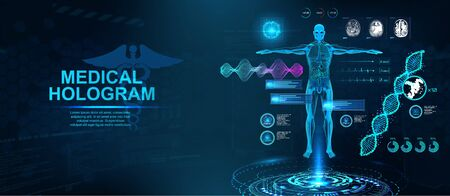 Healthcare Hologram HUD with body, formula DNA, MRI brain screens, x-ray skeleton, and bpm information. Medical examination concept. Sci Hologram and 3D body X-ray. Vector Healthcare illustration