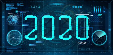 Technology 2020 New Year concept in futuristic style HUD. Digital banner. Design future 2020 tech background. Hi-tech concept. Vector illustration HUD Happy New Year  イラスト・ベクター素材