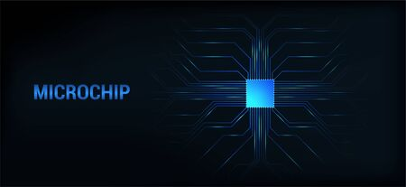 Microchip processor dark background. Circuit board banner, concept AI technology. Microprocessor scheme, with high tech microchip. Vector illustration. Technology background