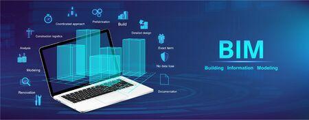 Concept de modélisation des informations du bâtiment. Bannière BIM avec ordinateur portable et ville modèle avec icônes et mots-clés. Le concept d'entreprise. Construction industrielle, du début à la fin BIM. Illustration vectorielle
