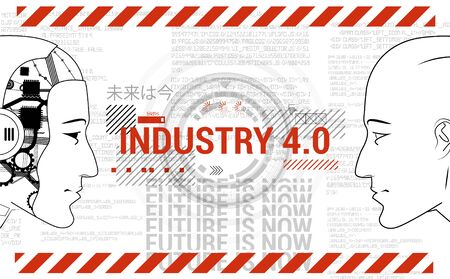 Industry 4.0 concept banner. Physical Systems concept, Robot and man are looking at each other. Automation, human replacement with a robot, a new generation of industry. Industrial Revolution 4.0  イラスト・ベクター素材