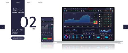 Trading platform dashboard, Forex market, stock platform, binary option. universal application for smartphone and laptop. UI, UX, KIT mockup. Candles and indicators. Cryptocurrency and finance. Vector