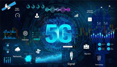 5G internet technology concept banner with elements interface and aspects 5G technology. Global high speed internet via wireless network concept. Vector illustration with HUD interface elements