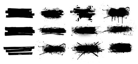 Ink splashes set. High level of tracing. Black inked splatter dirt stain splatter spray splash with drops blots isolated vector grunge silhouette set. Vector grunge silhouette set color dirty liquid  イラスト・ベクター素材