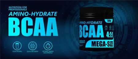 BCAA container with hi-tech background. New formula, Set of branched chain amino acids. Sport nutrition BCAA. 3D realistic mockup. Vector illustration product packaging  イラスト・ベクター素材