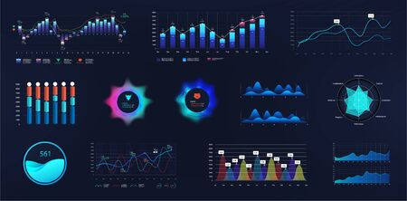 Intelligent infographic UI, UX, GUI interface. Vector futuristic neon ui infographics digital illustration on tech panel hud diagram. Dashboard elements in flat style. Business presentation elements