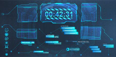 Objaśnienia tytułów i futurystyczna ramka ekranu w stylu HUD. Futurystyczne etykiety na paskach informacyjnych, paski informacyjne i nowoczesne szablony układów cyfrowych pól informacyjnych. Ilustracja wektorowa HUD, GUI, UI