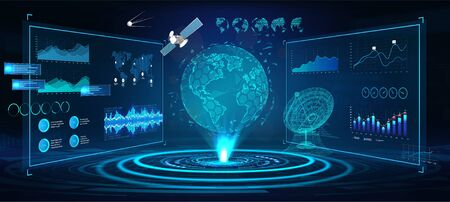 Futuristic Earth globe hologram and HUD interface panels, with 3D antenna and satellites. ontrol center dashboard. Earth globe hologram with sci-fi interface. Vector illustration