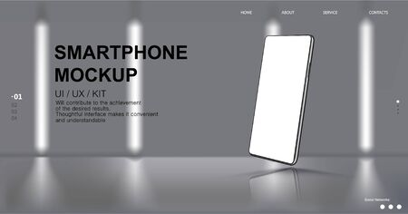 Realistic Smartphone Mockup with website elements interface and on a light background, futuristic room, blur effect. 3D realistic Cell phone Mockup. Mobile phone for a presentation. Vector Smartphone