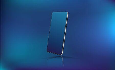 Mobile phone Mockup for UI,UX,KIT presentation. Futuristic Smartphone in isometric, presentation position. 3D realistic cellphone mockup. Vector illustration. Smartphone gadget background