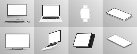 Beautiful collection of gadgets, 3D mockups in realistic style (tablet, tv, laptop,mobile cell phone, smartphones, pc monitor and clock) Gadgets mockups from different angles, perspective, isometric.
