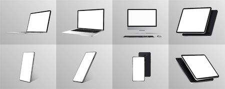 Great minimalist 3D gadgets set. Mockups at different angles. Devices - Smartphone, tablet, laptop and pc. Devices collection Mockups generic gadget. Mockups perspective and isometric view. Vector Çizim