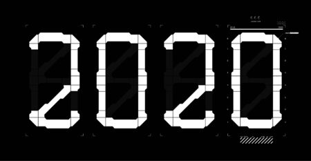 Futuristic digits 2020 with interface HUD. Loading bar from 2019 to 2020. Happy new year sky-fi design. Technology background, Business technology concept. Vector illustration