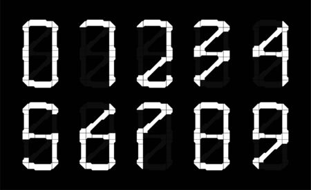 Hi-tech numbers from 0 to 9 in HUD style. Digits set. Futuristic calculator numbers. Suitable in any area, it will look very stylish on a T-shirt or other clothes, APP, game. Vector digits set.