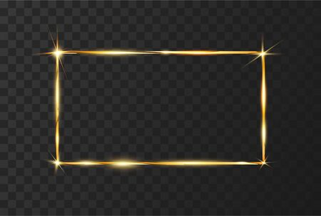 Golden Shiny Glowing frame with glare and isolated on black transparent background. Golden luxury realistic rectangle border. Vector illustration