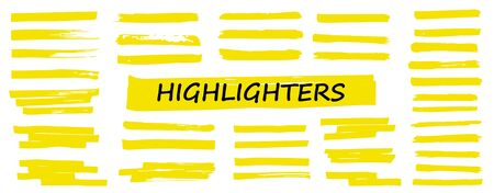 Highlighters collection, brush lines, isolated in white background. Marker yellow set, brush pen hand drawn underline. Vector highlighter graphic stylish element. Watercolor hand drawn highlight set.
