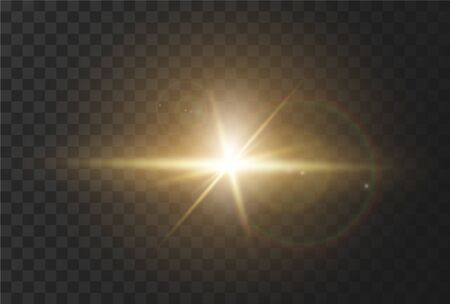 Realistic effect of sunlight with glare and rays of the sun, the effect of flash or light. Vector illustration