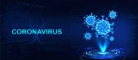 Hologram of coronavirus on a blue futuristic background. Deadly type of virus 2019-nCoV. 3D models of coronavirus bacteria. Vectonic illustration in HUD style