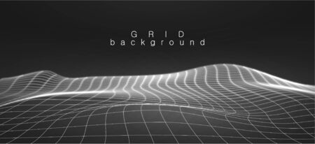 Landscape background in black and white colors. Vector illustration terrain. Cyberspace grid. Big data visualisation. 3D Vector illustration with lines grid in the form of terrestrial landscape