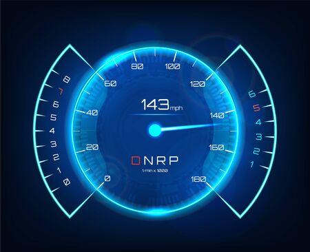 Speedometer speed car, auto dashboard design in futuristic style. Neon speedometer. Tachometer, Template Automotive Dashboard. Vector illustration