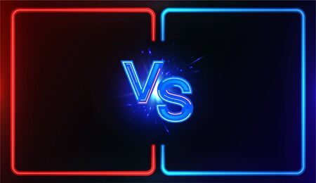 Neon Versus Battle, vs collision of futuristic letters with glow and glare of light on a red-blue background, confrontation concept, competition vs match game, martial battle vs sport. Versus battle Çizim