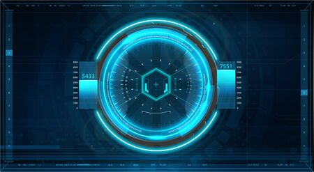 Futuristic GUI aim system of sniper weapon or futuristic game target. Game, Future Control Center Display. Camera viewfinder. Sci-fi futuristic spaceship crosshair. Aim military technology HUD Çizim