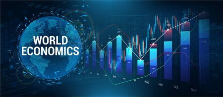 Stock market, investment with 3D Earth Globe and graphic and charts elements. Forex and analog. Financial investment and economic trends. Trade Platform. Vector illustration
