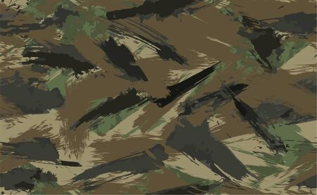Seamless Brush Stroke Camouflage print. Vector pattern Green brown black olive colors forest texture. Fabric and fashion textile paint. Camouflage pattern background. Vector Seamless Camouflage Çizim