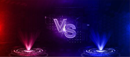 Futuristic Versus battle. Two holograms of red and blue on a futuristic background with HUD elements. VS image blank. Vector illustration versus 向量圖像