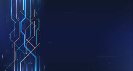 Technology background with neon line and dots over dark blue background. Hi-tech connection, digital data and internet communication, future science techno design for background. Vector illustration Çizim