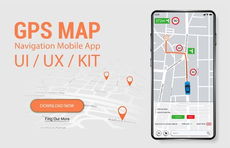 Map GPS Navigation Smartphone App Screen. UI, UX, KIT Mobile Application. Thoughtful and simple application shows roads, speed limit, time. Application search map navigation. Vector Navigation App