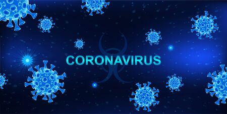 MERS-Cov (middle East respiratory syndrome coronavirus). Dark background with bacteria and the inscription coronavirus. 2019-nCoV concept. 3D elements. Vector illustration Illustration