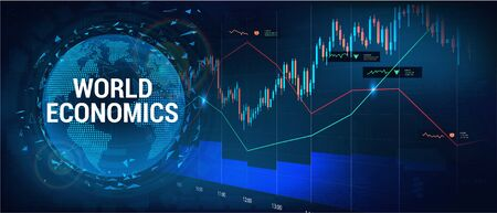 Stock market, forex and world investment with 3D Earth Globe and graphic and charts elements. Financial investment and economic trends. Trading Platform. Business design, economic artwork. Vector Çizim
