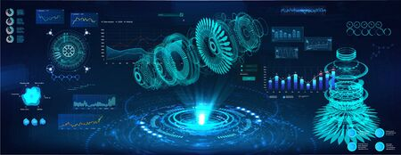 Futuristic Hologram 3D objects, turbine and jet engine. Cad x-ray project. Mechanical scheme HUD style. Dashboard interface future engineering with Modern interface Sky-fi. Vector illustration 일러스트