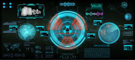 Innovation system, HUD dashboard interface for UI, GUI, UX design. Fullcolor futuristic elements set. Nuclear reactor interface, station and control center dashboard. HUD and Sci-fi vector elements. Çizim
