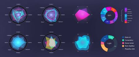 Modern vector circle infographics set. Dashboard elements, circle info charts. Template for diagram, graph, presentation and chart. Vector set