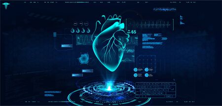 Modern medical cardiology technology. Medical interface for monitoring the scanning and analysis of heart disease. Healthcare concept. Hologram heart with interface, ultrasound and cardiogram. Vector